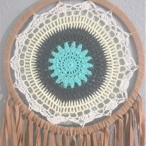 Wall Art - Large Turquoise Floral Crochet Boho DREAMCATCHER